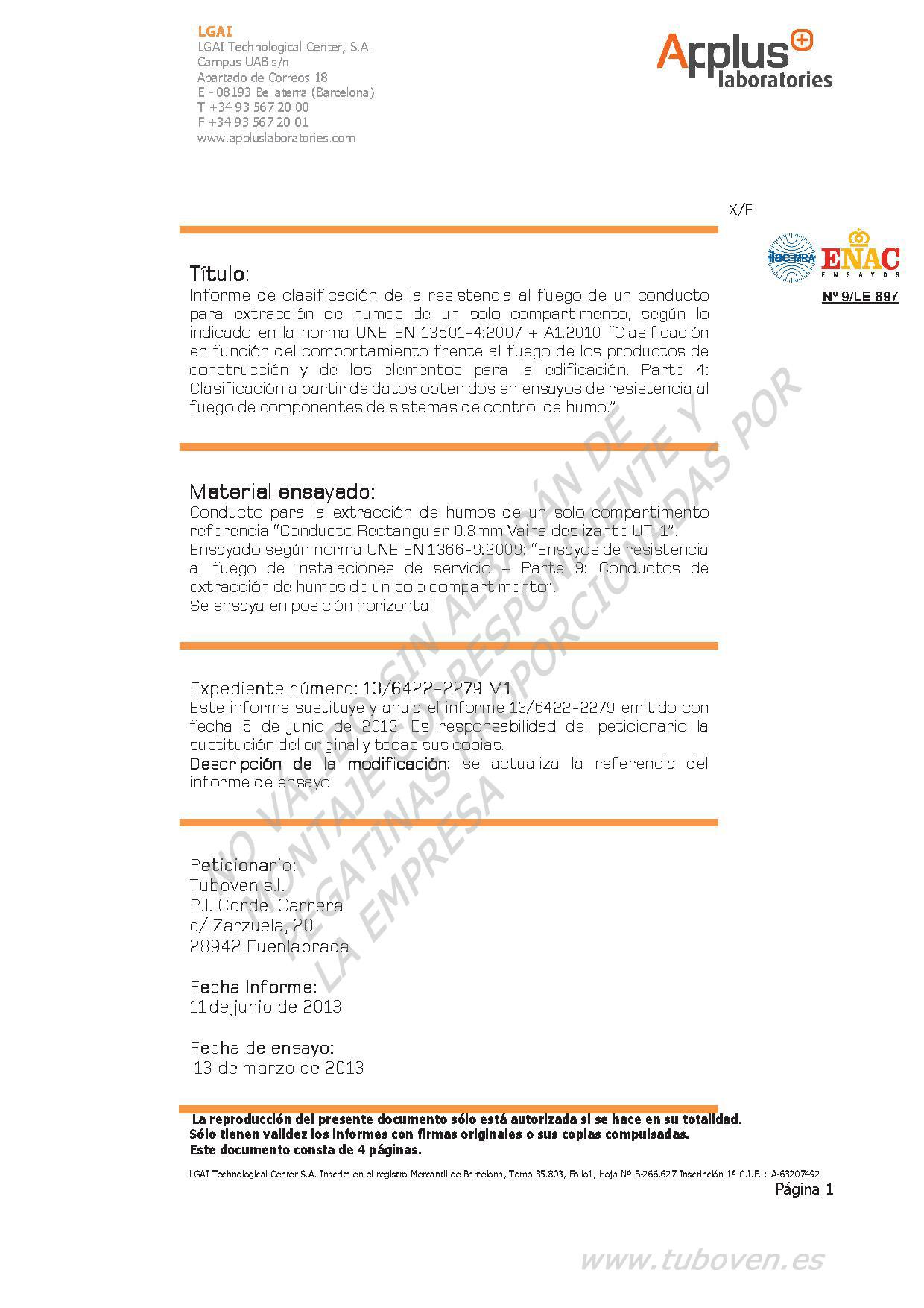 13-6422-2279 M1 TUBOVEN - Informe Clasificación 0.8 mm