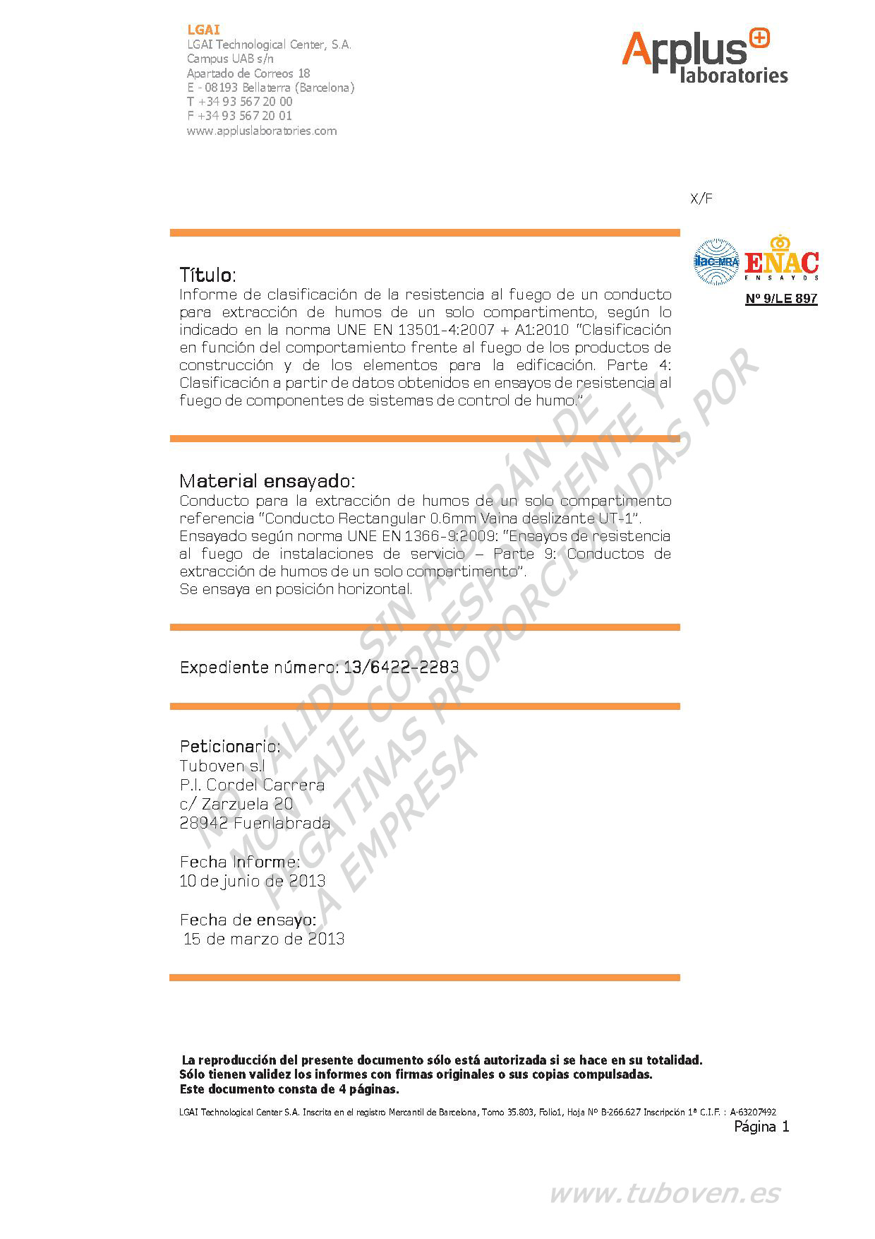 13-6422-2283 TUBOVEN - Informe Clasificación 0.6 mm