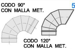 Codo 90º-120º Malla Metálica